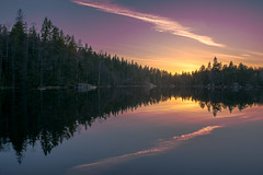 Sound of nature (barenstaden) Tags: sunset cloud lake reflection nature water forest wave