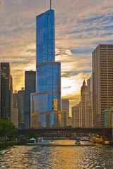 Chicago from the river (lgflickr1) Tags: chicagoillinois chicagoriver water river sunset cityscape bridge blue clouds boats d700 nikon 2470mm reflection dusk summer pretty