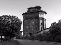 old water tower for steam locomotives (Erich Hochstger) Tags: old bw building tower alt watertower sw turm gebude hdr wasserturm