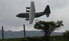 Low Flying along a fence (ashperkins) Tags: hercules raf c130 graig northwales lowflying c130hercules glanconwy ef100400mmf4556lisusm eos7d fencefriday ashperkins
