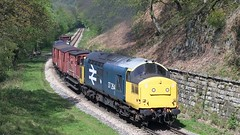 Class 37 264 with a southbound freight at Beck Hole [NYMR] (soberhill) Tags: diesel class 37 freight goathland grosmont nymr 2016 beckhole northyorkshiremoorsrailway 37264 scottishbranchlinegala