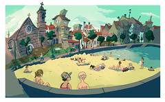 Playa de Bouzas (Carlos Castro Prez) Tags: world city sea summer color beach june illustration print poster landscape fun town sketch spain europe drawing year cartoon playa atlantic galicia vigo bouzas