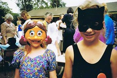 Glenbrook school circa 1992 (deadbudgie) Tags: blue school girls mountains cat duck dress mask australia nsw fancy 1992 glenbrook