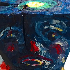 #retreat (face) // #wood #sculpture #art #mixmedia (Beatriz Creel) Tags: street art colors collage watercolor mexico mix media acrylic object stickers engraving oil