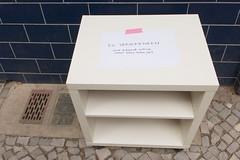 Paradigmenwechsel (sterreich_ungern) Tags: street blue white berlin abandoned sign lost grey giveaway mbel cupboard 44 trashed nk neuklln zu ordnung entsorgung schrnkchen verschenken paradigmenwechsel pressspan dereligation