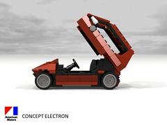 AMC Concept Electron - 1977 (lego911) Tags: amc concept electron 1977 1970s american motor corporation classic auto car moc model miniland lego lego911 ldd render povray usa america electric battery atom physics lugnuts challenge 104 thescienceofitall science
