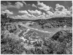 White Clouds Over The Potomac (jiroseM43) Tags: park water clouds river lumix mono great greatfalls falls fisheye panasonic national waterfalls potomacriver 75mm gh3 rokinon dmcgh3
