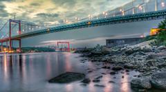 Gteborgs hamninlopp (agnetaberlin) Tags: bridge landscape coast sweden outdoor sony gothenburg coastline sverige bro hav goteborg landskap hamn lvsborgsbron eriksbergskranen