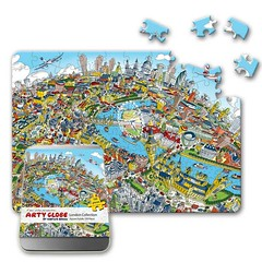 New 100 piece jigsaw puzzle packaging! (Arty Globe by Hartwig Braun) Tags: new city urban colour london thames artwork vibrant perspective bigben puzzle 100 cityoflondon handdrawn jigsawpuzzles londonlookingeast