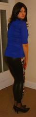 patterned leggings (charlotteyorkscd) Tags: cute sexy tv cd blueeyes makeup transvestite mascara lipstick brunette eyeshadow crossdresser leggings eyeliner pinklipstick shinyleggings wetlookleggings