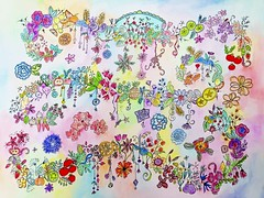 Flowers and Fruit, Search and Find (Ginny Griffin) Tags: flowers vegetables fruit illustration pen ink watercolor vines paint drawing hobby markers coloredpencil
