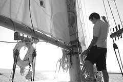 Ropework (peterkelly) Tags: bw usa water burlington sailboat digital us wooden vermont sailing unitedstates unitedstatesofamerica rope boom northamerica mast sailor schooner rigging lakechamplain deckhand