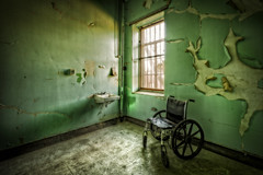 """Wheelchair Window"" (Frank C. Grace (Trig Photography)) Tags: green history abandoned hospital insane unitedstates decay wheelchair masonry plan historic haunted westvirginia ghosts insanity exploration paranormal lunatic asylum weston treatment urbex patients mentalillness kirkbride overcrowded richardandrews transallegheny handcutstone trigphotography frankcgrace"