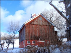 Crane Hill barn in snow-004 (edenseekr) Tags: winter red barn rural country nystate