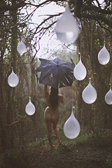 80% chance of isolated showers (lizannefigueras) Tags: water rain forest umbrella balloons nude drops