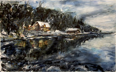 northern sunset (davedehetre) Tags: trees winter sunset sea usa reflection art water night watercolor painting pier lawrence artwork cabin arctic kansas treeline