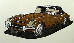 Jaguar Type E Série 1 cabriolet (Jean-Paul Rivière) Tags: car vintage sketch jaguar croquis pittartistpen