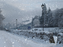 P1095447 Snow Falling (foggyray90) Tags: street winter snow fort augusta lamps loch ness