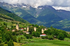 Svaneti (Gedsman) Tags: mountain snow mountains tower beautiful beauty georgia landscape scenery fort altitude traditional culture glacier caucasus tradition defense horseback cultural svaneti mestia