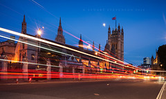 07. Palace of westminster (Stuart Stevenson) Tags: road uk longexposure england moon london westminster night photography scotland flag parliamentsquare lighttrails bluehour unionflag footpath doubleyellowlines sw1 houseoflords palaceofwestminster gbr clydevalley canon1740mm redlondonbus thanksforviewing canon5dmkii stuartstevenson ©stuartstevenson top12of2014