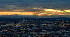 City on fire (in Explore) (Marc Haegeman Photography) Tags: panorama mountains alps germany munich mnchen bayern bavaria lights twilight nikon cityscapes sunsets explore d750 olympiaturm olympiapark bavarianalps flickrexplore marchaegeman nikon70200mmf28vr