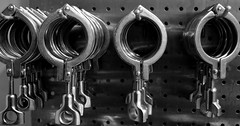 Clamps (pjpink) Tags: winter blackandwhite bw virginia steel january winery equipment charlottesville stainless 2015 wineworks pjpink michaelshaps