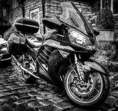 The Great British Rain Off ! (TrevKerr) Tags: blackandwhite wet monochrome rain mono motorbike motorcycle raining cobbles kawasaki gtr1400 concours14
