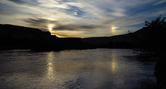 Sun Dog Sunset (maytag97) Tags: sunset lake reflection silhouette contrast river landscape evening twilight sundog maytag97