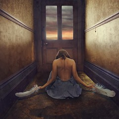 withdrawal (brookeshaden) Tags: bird feminine feathers melbourne illustrative fineartphotography darkart conceptualphotography selfportraitphotography brookeshaden labassamansion