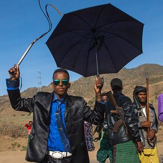 Oromo groom with a whip during his wedding celebration, Oromo, Sambate, Ethiopia