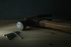 23/52: If I had a hammer... (judi may) Tags: wood stilllife lightpainting metal hammer tools nails ifihadahammer 52in52 canon7d 52weekchallenge inthemancave