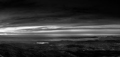 Monochomatic Fire and Water (Glen Sumner Photography) Tags: blue ireland panorama sun abstract mountains nature newcastle landscape landscapes peak summit vista northernireland vast countydown mournes slievecommedagh mournewall