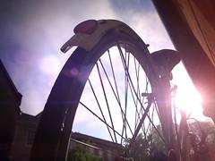 Bike light (davidolds_uk) Tags: morning light sun bike bicycle sunrise cycle flare rays iphone