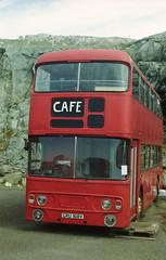 Double Decker (07mod) (AngusInShetland) Tags: bus scotland cafe belmont zenit shetland ferryterminal doubledecker unst zenitttl daimlerfleetline leylandfleetline fujicolorc200 canoscan5600f gru168v