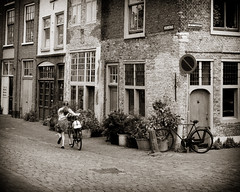 girl with bicycle in Leiden The netherlands (dickkoning) Tags: leica holland girl bicycle leiden young m