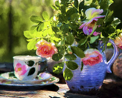 Good morning (BirgittaSjostedt) Tags: wood morning roses stilllife plant texture cup coffee table still paint outdoor painted pot ie magicunicornverybest birgittasjstedt