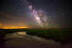 Ripples and Stars (Robin-Wilson) Tags: milkyway river ripples bridge willows mountains colorado nikond800 nikon1424mmf28 galaxy distant city distantcity digitalblend airglow newmoon clouds bravo sunrays5