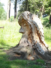 ET - Phone Home! (Munki Munki) Tags: sculpture streetart wooden carved hand head chainsaw whitby greenman museumgardens nyorks pannettpark
