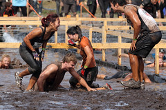 This Tough Mudder is a real hoot! (Howard Ferrier) Tags: elements electriceel crawling australia race sportleisure timber competitor laughing sunshinecoast event fun water obstacle mud caloundra toughmudder queensland crawl laugh oceania themes actions seq materials