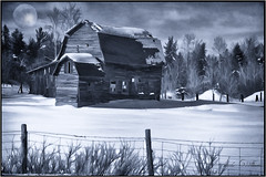 Once Upon a time.... (Lindaw9) Tags: old trees winter moon snow ontario barn fence brush moonlight posts lavigne pagewire