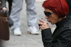 Red ~ Paris ~ MjYj (MjYj ~ IamJ) Tags: world city light urban woman black paris texture love beauty fire pretty solitude time femme eden notre dame temps tones ville feu parvis homme esmeralda encounters fiancée img7792 mjyj mjyj©