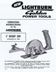 Lightburn 4'' saw Cat 406A instructions. (Runabout63) Tags: saw powertool lightburn