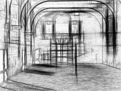 Riding House Sketch (Lens Perception) Tags: castle effects derbyshire cavendish cherubs bolsover englishheritage