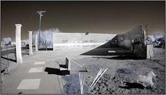 Columns & Horse (NoJuan) Tags: california olympus fisheye infrared daytrip californiadesert ep2 digitalinfrared fullframefisheye irconversion infraredconversion nilandca olympusep2 9mmfisheyebodycaplens 9mmbcl micro43infrared