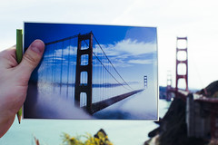 postcards from san francisco (Asher Isbrucker) Tags: sanfrancisco california travel bridge blue usa tourism unitedstates meta icon goldengatebridge goldengate iconic pictureinpicture