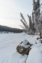 Down River (yukonchris) Tags: winter snow canada cold ice nature beauty rock river landscape outside north hills yukon valley northern whitehorse genre yukonriver intothesun borealforest northof60 southernyukon deepcold yukonrivervalley canon7d