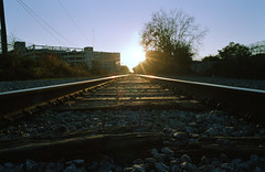Expired Film in the Bywater (Sean M. O'Grady) Tags: sunset nikon louisiana neworleans traintracks bywater railroadtracks endoftheworld expiredfilm upper9th