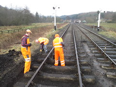 Stephen, Mike and Kevin digging ballast at 2 points 18Jan15