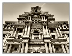 Looking Up (Eddie Hales) Tags: usa building philadelphia sepia america pennsylvania cityhall philly olympusepl5