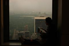 (eflon) Tags: nyc ny newyork window evening dof view map centralpark manhattan horizon topoftherock lookingout bldgs